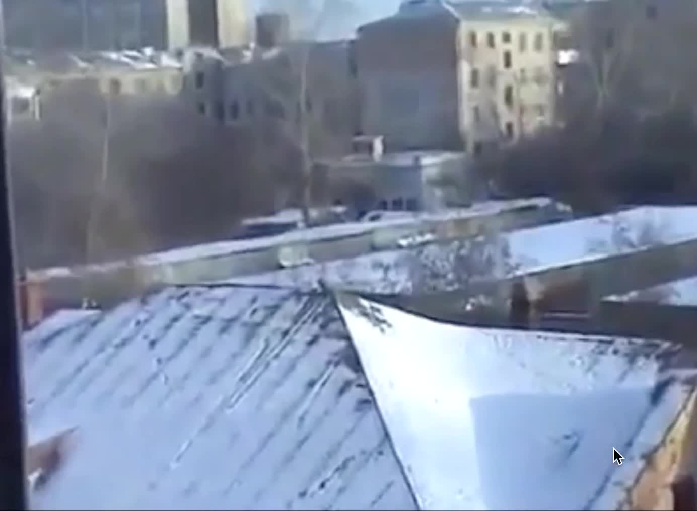 A crow enjoying some snowboarding on a roof GIFs