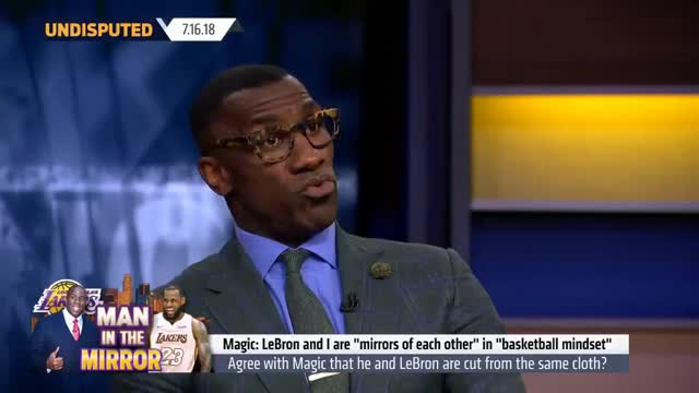 Watch Skip and Shannon react to Magic saying LeBron is cut from the same cloth | NBA | UNDISPUTED GIF on Gfycat. Discover more Sharpe, Skip, Sports, basketball, bayless, fox, fs1, james, johnson, lakers, lebron, magic, nba, news, shannon, undisputed GIFs on Gfycat