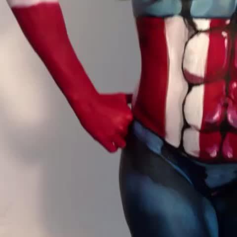 friends, Bodypaint, Captain America style! GIFs