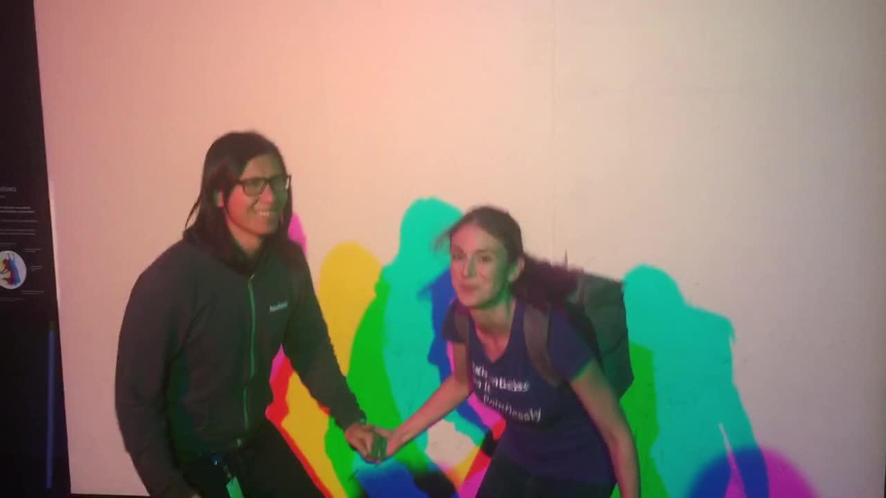 colors, jump, Kasey Wang & husband & Soylent jump around the Exploratorium GIFs