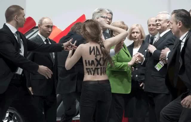 Watch and share Femen Activist Flashes Putin. : Photoshopbattles GIFs on Gfycat
