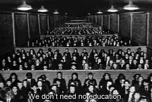 """Watch """"We don't need no education We don't need no thought control GIF on Gfycat. Discover more 80s, 80s music, pink floyd GIFs on Gfycat"""
