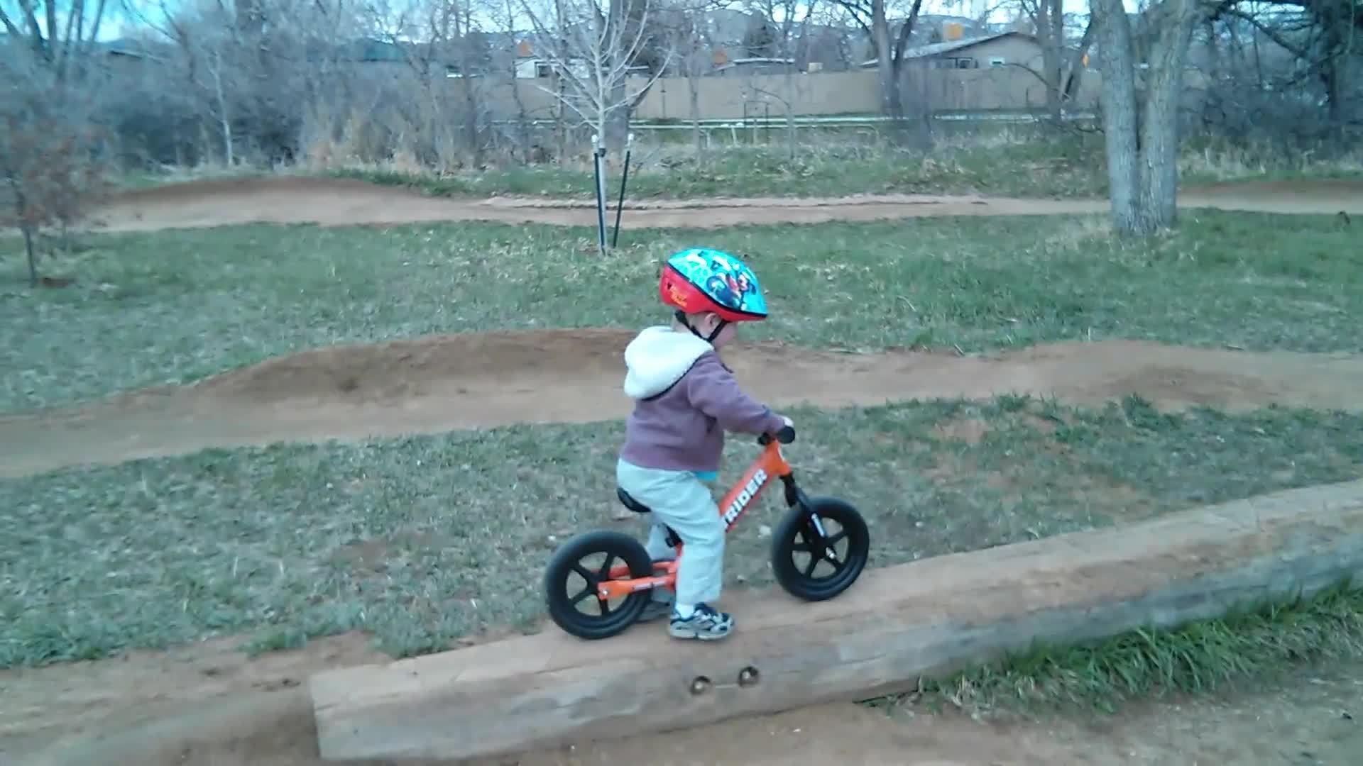 ChildrenFallingOver, gifsthatendtoosoon, holdmyjuicebox, Rhys Biking Over a Log GIFs