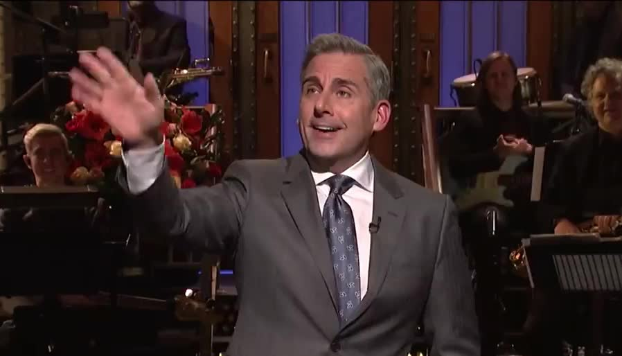 awkward, bye, carell, cu, family, goodbye, hello, hey, hi, hola, live, monologue, night, office, reunion, saturday, see, snl, steve, wave, Steve Carell Returns to SNL Monologue - SNL GIFs