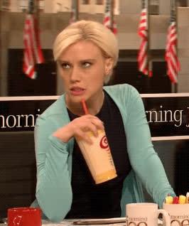 Mika Brzezinski, coffee, dgaf, extra, eye roll, iced coffee, iced coffee day, kate mckinnon, morning joe, petty, sip, snl, whatever, Morning Joe Michael Wolff Cold Open - SNL GIFs