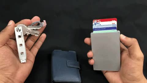 Watch cascade and keyport 3 GIF by Matthew Guy (@maniwodners) on Gfycat. Discover more Creditcardwallet, metal wallet, pocketdump, unisex wallet GIFs on Gfycat