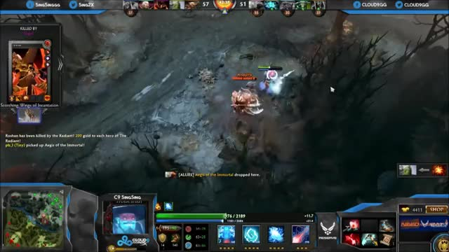 DotA 2 - SingSing (Juggernaut) and Kuroky (Tidehunter) in a clowny pub game: 60 kills in first 20min (reddit)