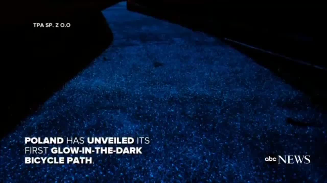 r/sciences, Glow-In-The-Dark Bicycle Path: Poland unveils glow-in-the-dark bicycle path that is charged by the #sun  🚴#Luminop GIFs