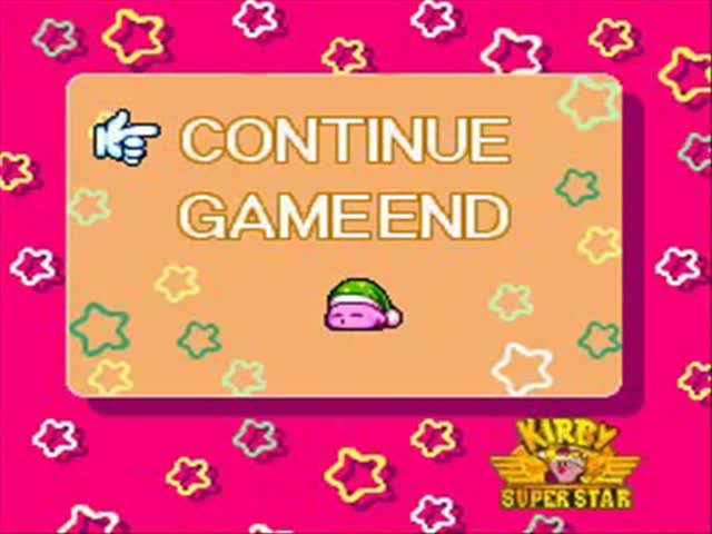 Continue, End, Game, Kirby, Nintendo, Over, SNES, Screen, Star, Super, Kirby Super Star Sleeping Kirby GIFs
