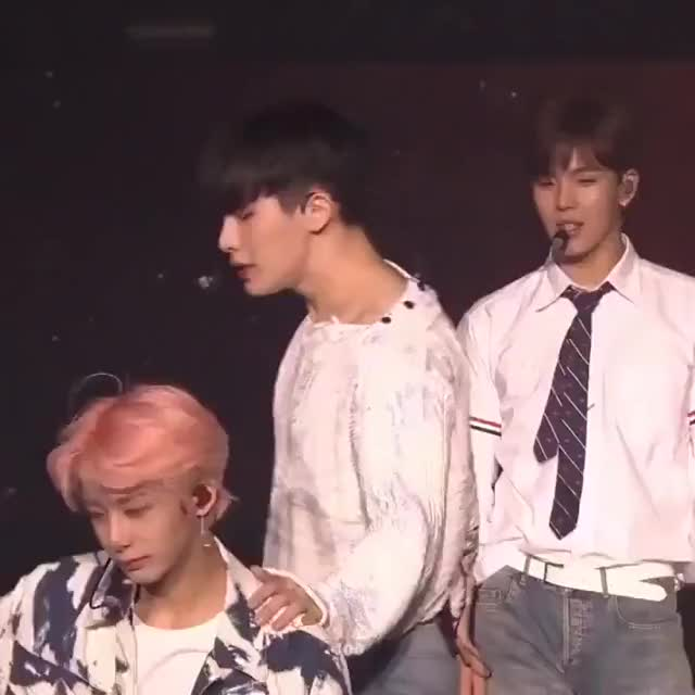 Watch and share َ - After They Danced Their Part In 'From Zero' They Smiled To Each Other, Then Wonho Lightly Hit Hyungwon Chest 🥺 #HYUNGWONHO              GIFs on Gfycat