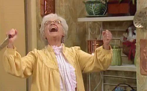 Watch NimbleFlatCommongonolek GIF on Gfycat. Discover more Estelle Getty, Sophia Petrillo, cackle, cackling, diabolical, diabolical laugh, diabolical laughing, evil, evil laugh, evil laughter, funny, golden girls, haha, knife, laugh, laughing, laughter, muahaha, muhahaha, ol, reaction, schadenfreude, sinister, succeed, succeeding, success, successful, the golden girls, victorious, victory GIFs on Gfycat