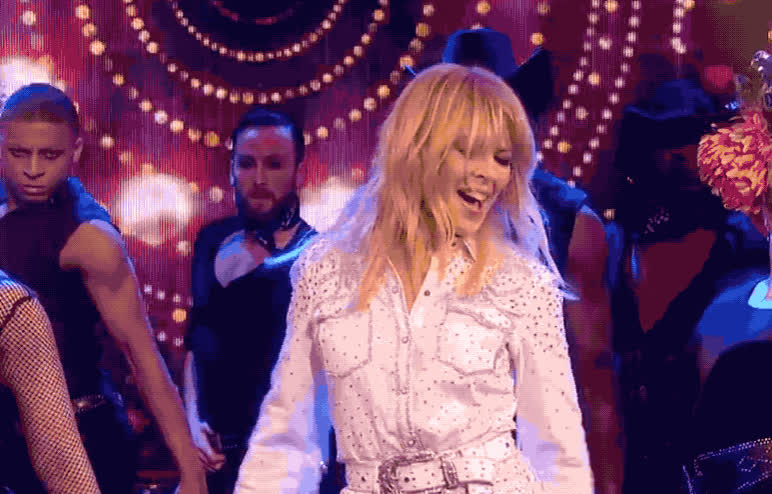 ant, celebrate, celebrating, cowboy, cowgirl, dance, dancing, dec, excited, hooray, kylie, live, minogue, night, party, saturday, takeaway, victory, win, winner, Kylie Minogue dancing GIFs