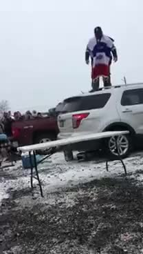 Watch and share Buffalo Bills Fan Blows Out Knee Jumping Through A Table GIFs on Gfycat