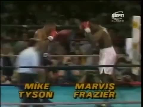Watch Marvis Frazier, Joe Frazier's son, gets ahead of himself and decides to fight Tyson in his prime GIF by @prsouthern on Gfycat. Discover more Marvis Frazier, Mike Tyson, boxing, brutal, knockout, ko, uppercut GIFs on Gfycat
