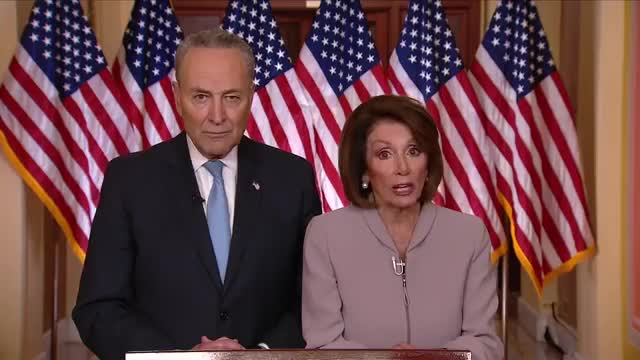 celebs, chuck schumer, democrats, funding, nancy pelosi, news, original, politics, schumer, trump, Schumer and Pelosi's full response to Trump's border address GIFs
