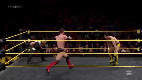 Watch and share Finn Balor's Running Dropkick On Hideo Itami GIFs on Gfycat