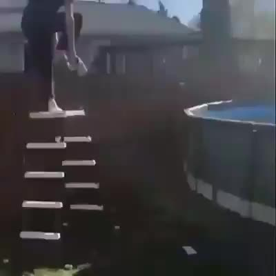 Dude wants to show you how well he can jump into the pool!