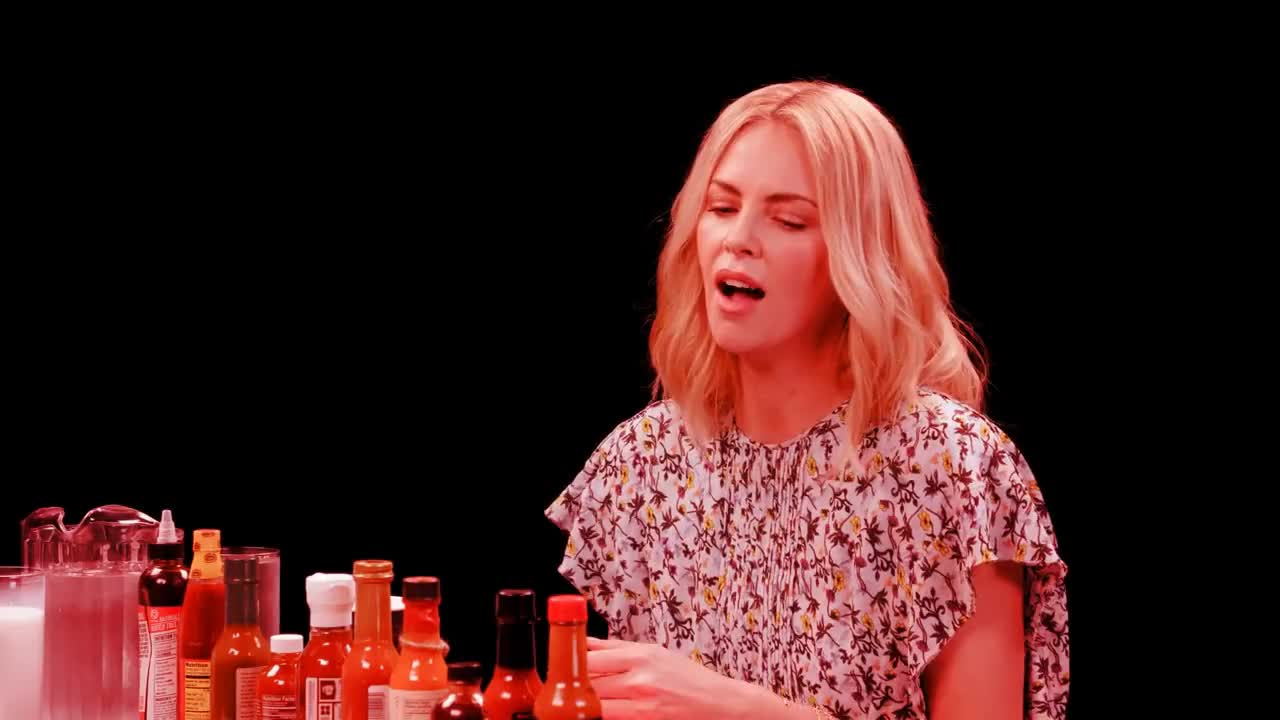 Cook, FWF, Recipe, bartender, charlize theron, chef, cocktail, complex, cook, cooking, firstwefeast, food, fwf, gringo, kitchen, recipe, Charlize Theron Takes a Rorschach Test While Eating Spicy Wings | Hot Ones GIFs