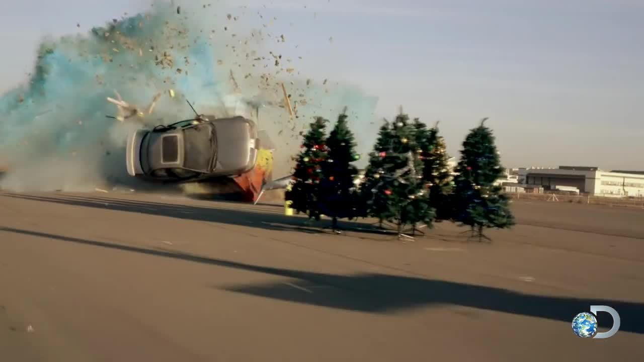 a destructive wedge through memory lane minimyth mythbusters gif create discover and share on gfycat - Mythbusters Christmas Tree