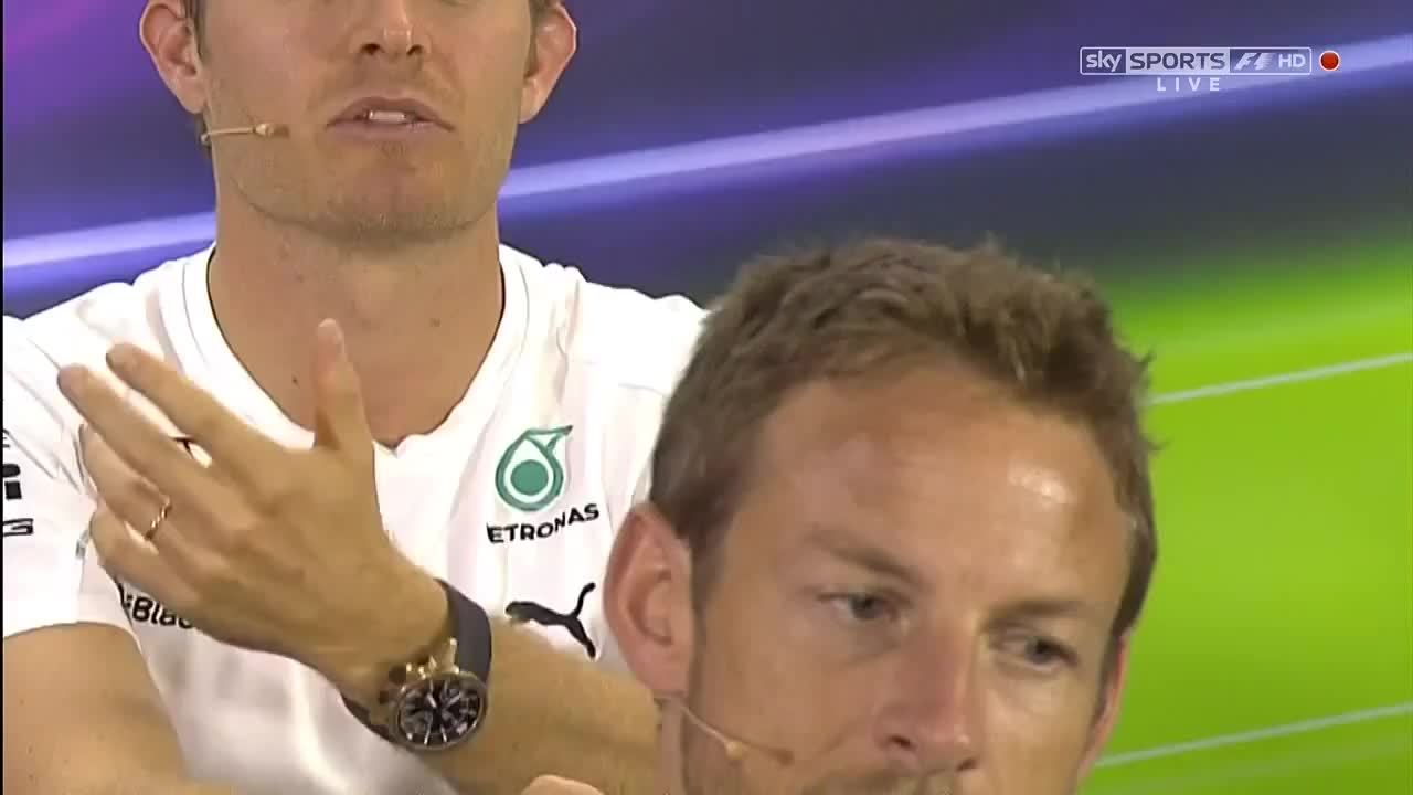 formula1gifs, Jenson Button Reacts to Nico (Abu Dhabi Press Conf) (reddit) GIFs