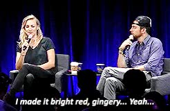 Watch Afraid yet? GIF on Gfycat. Discover more REALLY?!, chuck, i did not hear that chuck reference on my first two listens, my edits, my gifs, nbcchuck, nerd hq, nerd hq 2015, red hair, sdcc, sdcc 2015, yo, yvonne strahovski, zachary levi GIFs on Gfycat