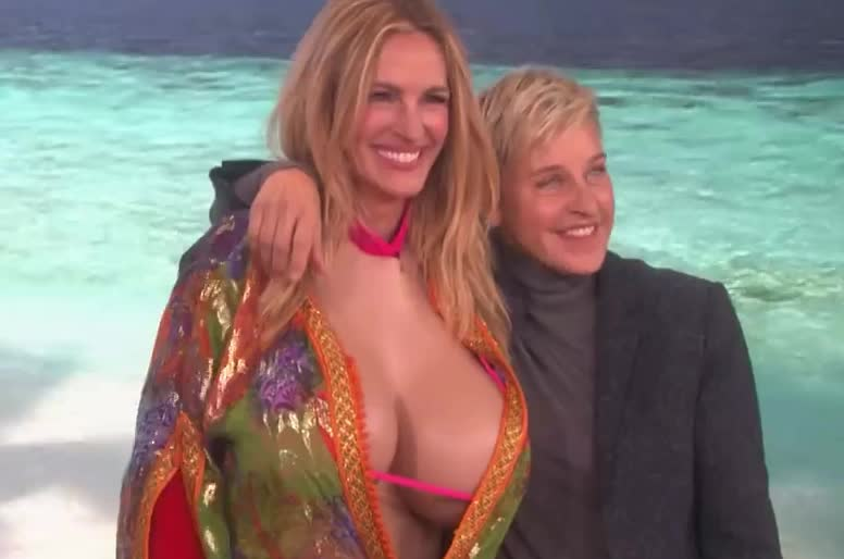 a, big, boobs, degeneres, ellen, epic, funny, hilarious, julia, lol, n, photo, photoshoot, picture, pose, roberts, rock, roll, take, tongue, Julia Roberts Gets a Surprise from Her 'My Best Friend's Wedding' Co-Star GIFs