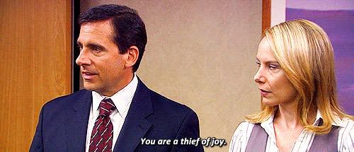 rude, steve carell, the office, Michael Scott Thief of Joy The Office GIFs