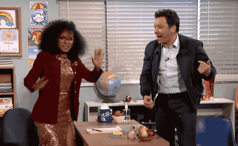 celebrate, dance, dancing, excited, exciting, fallon, happy, jimmy, kerry, lib, mad, party, show, theatre, tonight, victory, washington, win, woohoo, yeah, Kerry and Jimmy are dancing GIFs