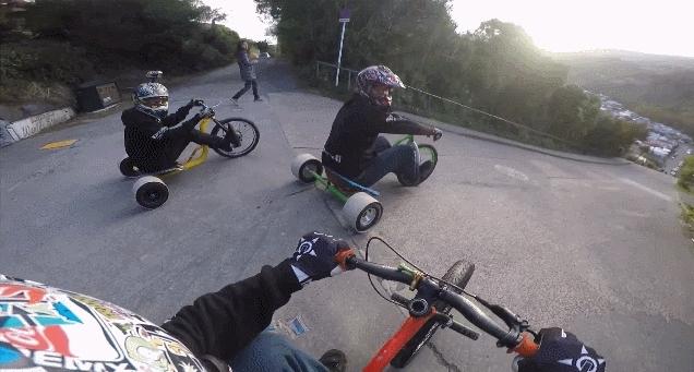 holdmyredbull, nonononoyes, Downhill Trike Drifting (reddit) GIFs