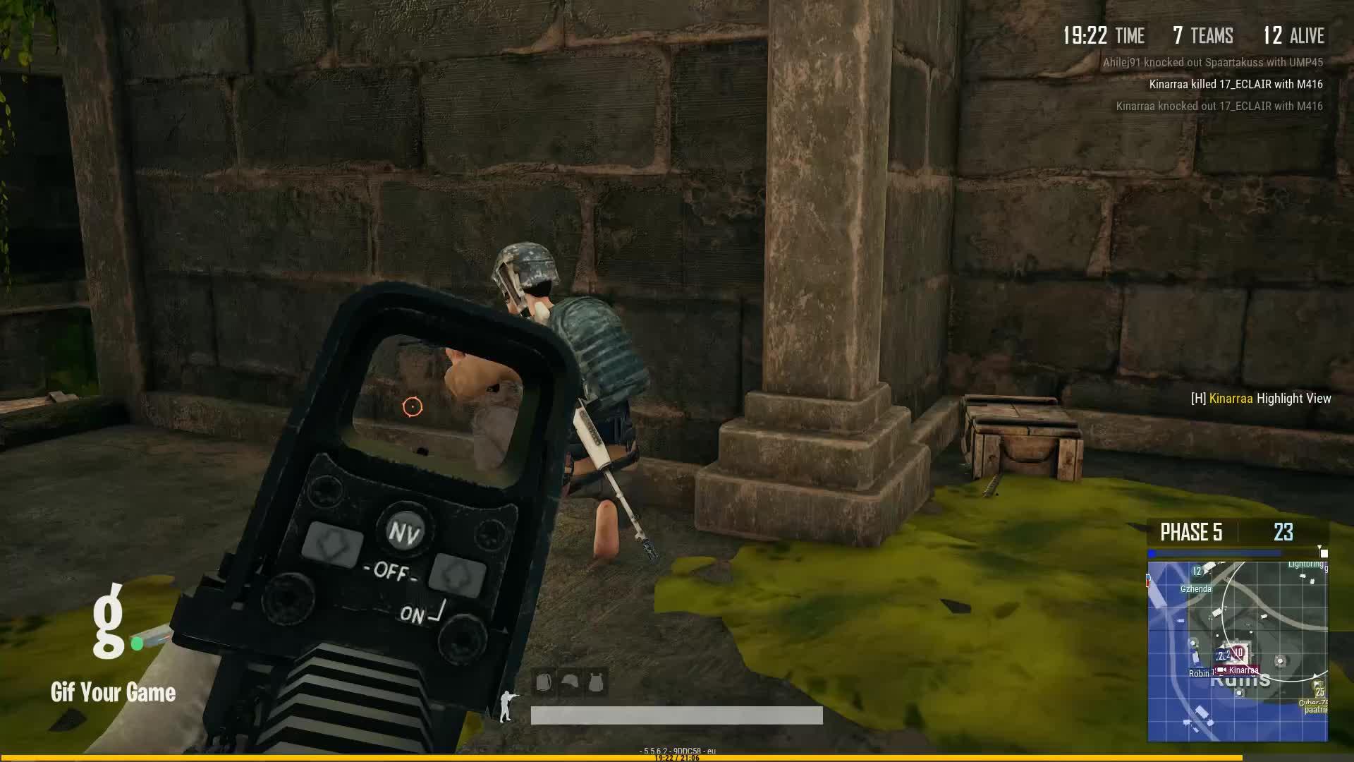 Gaming, Gif Your Game, GifYourGame, Kill, Kinarraa, PUBG, PUBattlegrounds, ⏱️ Kinarraa killed Bullseye2191 GIFs