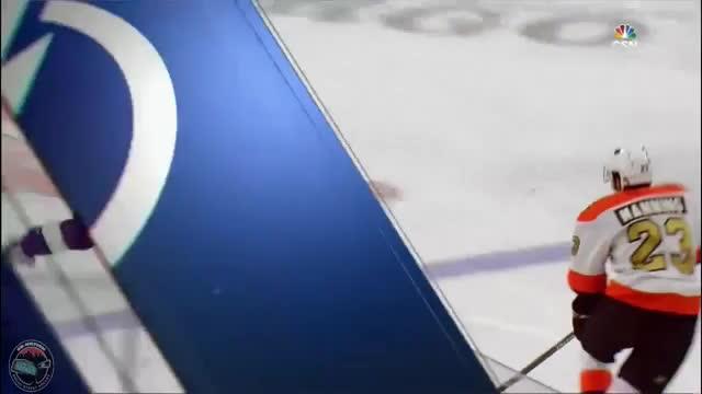 nevertellmetheodds, The one stray Tyler Johnson fan in Philadelphia catches Tyler's stick as it flies over the glass. GIFs