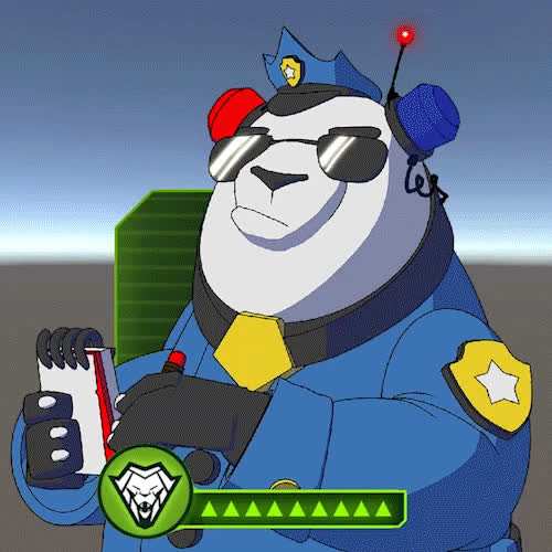 I fought the law, arrest, arrested, cop, law, panda, panda cop, police, policeman, ticket, you're under arrest, Panda Cop GIFs