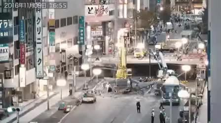 Timelapse of Japan fixing a sinkhole in a city in 7 days GIFs
