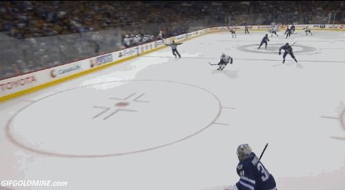 hockey, mildlyinteresting, Downie scores and gets shoved by Byfuglien (via @myregularface) (reddit) GIFs