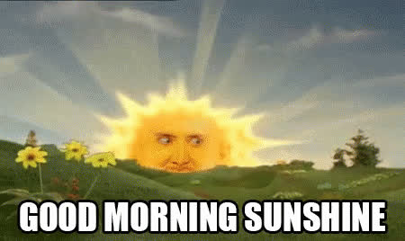 Nicolas Cage, good morning, nic cage, rise and shine, sunshine, teletubbies, Nicolas Cage - Good Morning Sunshine GIFs