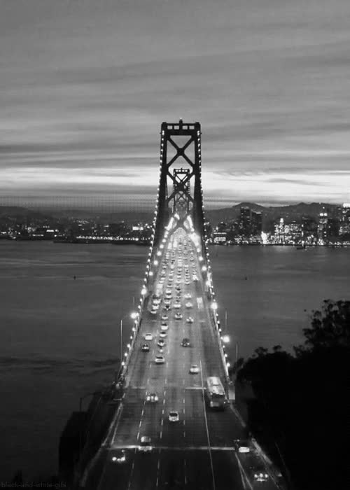 Watch and share Black-and-white-gifs:  San Francisco-Oakland Bay Bridge (Homesliced) GIFs on Gfycat