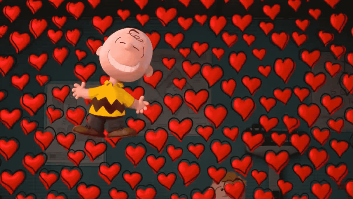 I love you, brown, charlie, excited, happy, heart, hearts, i, love, movie, peanuts, smile, u, you, Charlie Brown is in love! GIFs