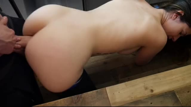 Spreading her cheeks for his cock