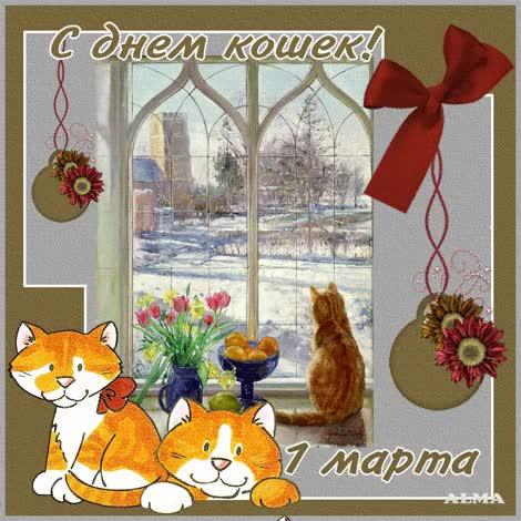 Watch and share С Праздником Вас, Кошки! - 1 Марта – День Кошек - Открытки GIFs on Gfycat