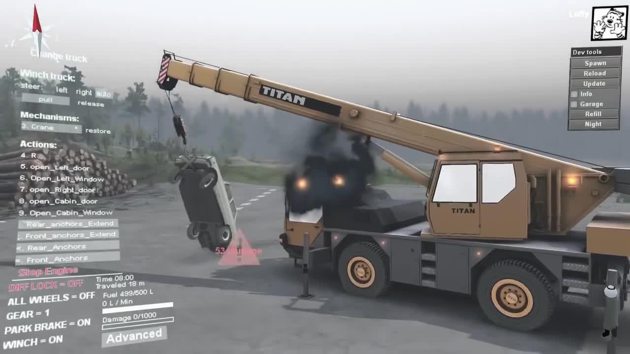 GamePhysics, crane, glitch, Using a crane in SpinTires GIFs