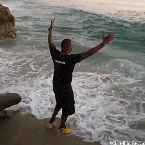 funny, instantregret, running, wave, Big wave incoming GIFs