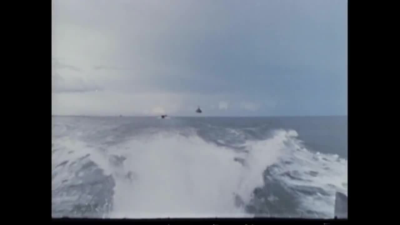 MilitaryGfys, aviationgifs, Huey gunships flying over the Brown Water Navy in Vietnam (reddit) GIFs