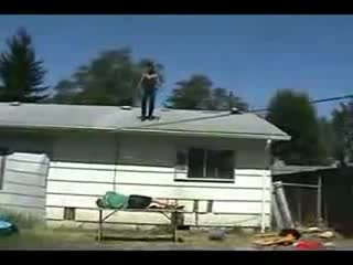 accident, back, backyard, destroyed, epic, fail, failblog, fall, hurt, jump, lmao, lol, owned, painful, ribcage, roof, table, wrestling, wrestling moves, yard, Backyard Wrestling Roof Jump FAIL GIFs