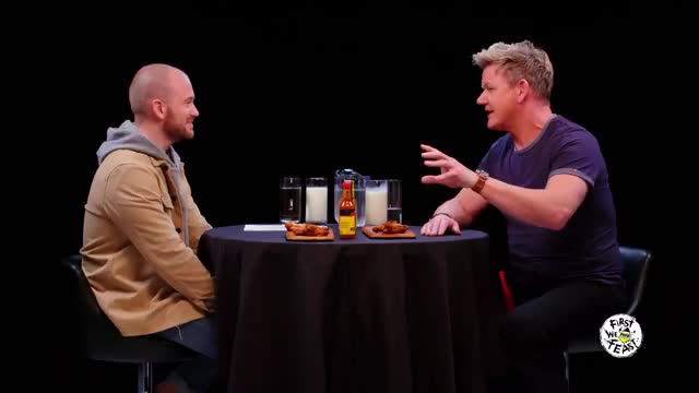Watch Gordon Ramsay Savagely Critiques Spicy Wings | Hot Ones GIF on Gfycat. Discover more Bismol, Cook, FWF, Recipe, bartender, celebs, chef, cocktail, complex, cooking, firstwefeast, food, gordon ramsay, kitchen, pepto GIFs on Gfycat