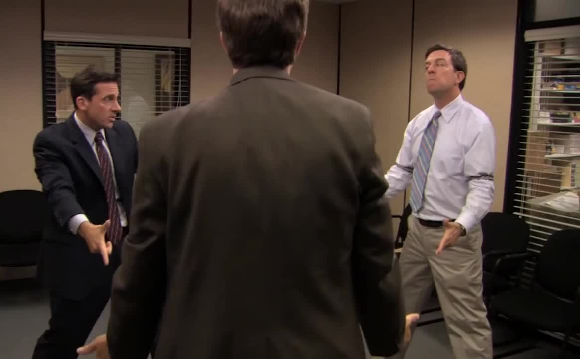 carell, crazy, each, fight, finger, funny, guns, kill, lol, loud, nuts, office, other, out, scream, shout, standoff, steve, the, yell, Standoff - The Office US GIFs