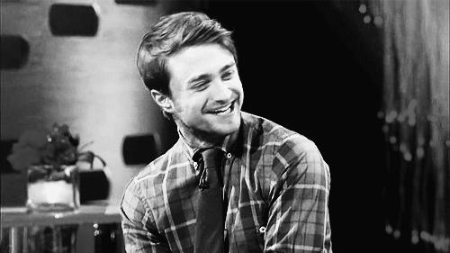 celebrities, celebrity, celebs, daniel radcliffe, laughing, Daniel Radcliffe laughing black and white GIFs