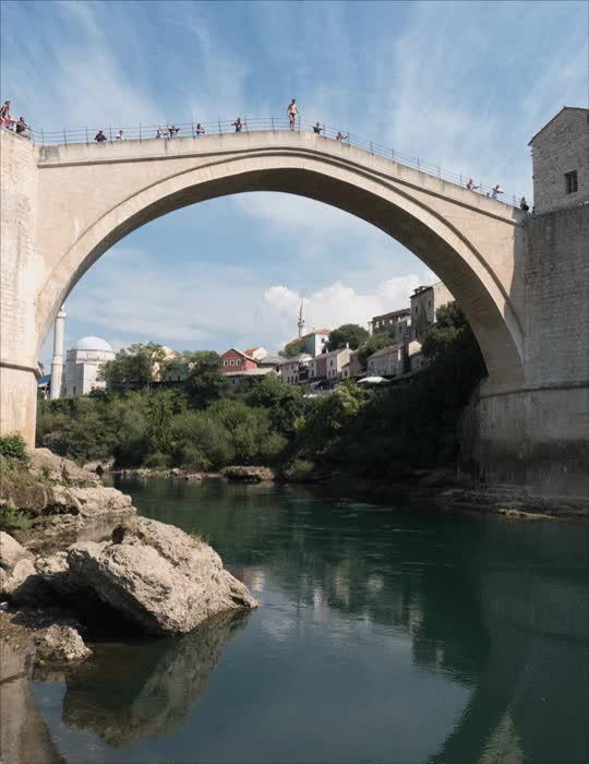 Watch and share Man Jumping From The Bridge At Mostar GIFs on Gfycat