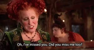 Watch Hocus Pocus images Did you miss me too? wallpaper and background photos GIF on Gfycat. Discover more bette midler GIFs on Gfycat