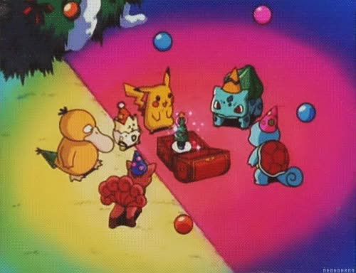 Watch and share Gif Christmas Pikachu Pokemon Togepi Bulbasaur Squirtle Pkmn Vulpix Psyduck NeoGohann PKMNC22 GIFs on Gfycat